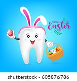 bunny tooth character with... | Shutterstock .eps vector #605876786