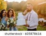 gorgeous happy stylish guest on ... | Shutterstock . vector #605878616