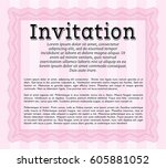 pink formal invitation. with... | Shutterstock .eps vector #605881052