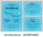 set of wedding cards in retro... | Shutterstock .eps vector #605893682