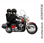 vector beauty bikers women and... | Shutterstock .eps vector #605895938