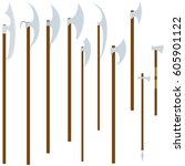 a set of ancient knives. the... | Shutterstock .eps vector #605901122