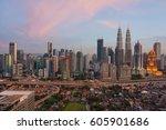 top view of kuala lumper... | Shutterstock . vector #605901686