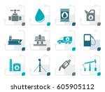stylized oil and petrol... | Shutterstock .eps vector #605905112
