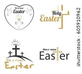 set happy easter logo vector