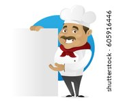 chef holding blank sign... | Shutterstock .eps vector #605916446