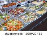 steel self service trays filled ...   Shutterstock . vector #605927486