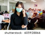 asian woman sick and wear face... | Shutterstock . vector #605928866