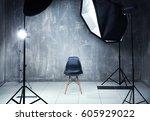 modern photo studio interior... | Shutterstock . vector #605929022