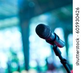 close up of microphone in ... | Shutterstock . vector #605930426