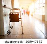 metal walker parked in hospital ... | Shutterstock . vector #605947892