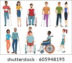 disabled people with friends... | Shutterstock .eps vector #605948195