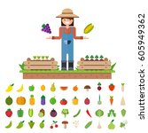 isolated vegetables fruits ... | Shutterstock .eps vector #605949362