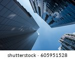 up looking skyscrapers with... | Shutterstock . vector #605951528