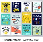 happy birthday card | Shutterstock .eps vector #605952452