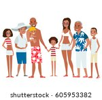 big african american family on... | Shutterstock .eps vector #605953382