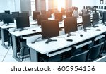 group of computer neatly placed ... | Shutterstock . vector #605954156
