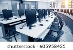 group of computer neatly placed ... | Shutterstock . vector #605958425