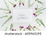 "word ""hello summer"" written in... | Shutterstock . vector #605963195"