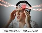 brain stroke concept  headache  ... | Shutterstock . vector #605967782