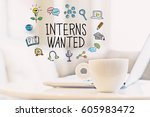 interns wanted concept with a... | Shutterstock . vector #605983472