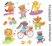 cute animal athletes. sports... | Shutterstock .eps vector #605983916