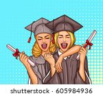 vector pop art illustration of... | Shutterstock .eps vector #605984936