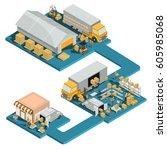 vector 3d isometric logistic... | Shutterstock .eps vector #605985068