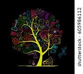 music instruments tree  sketch... | Shutterstock .eps vector #605986112