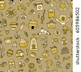 honey apiary  seamless pattern. ... | Shutterstock .eps vector #605986502