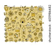 honey apiary  icons set. sketch ... | Shutterstock .eps vector #605986682