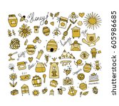 honey apiary  icons set. sketch ... | Shutterstock .eps vector #605986685