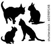 cat silhouettes   vector... | Shutterstock .eps vector #605989148