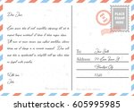 postcard vintage design style... | Shutterstock .eps vector #605995985