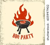 bbq party. grill with fire on... | Shutterstock .eps vector #605997902