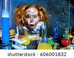 funny little girl doing... | Shutterstock . vector #606001832