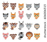 set of cute animals with big... | Shutterstock .eps vector #606006515