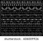 white chalk floral borders on... | Shutterstock .eps vector #606009926
