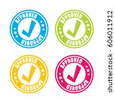 colorful approved stamp labels | Shutterstock .eps vector #606011912
