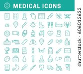 a set of simple outline medical ... | Shutterstock .eps vector #606012632