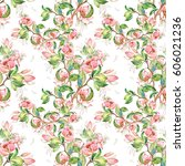 seamless pattern of flowering... | Shutterstock . vector #606021236