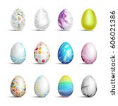 easter eggs set | Shutterstock .eps vector #606021386