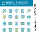 line icons set. flat thin... | Shutterstock .eps vector #606024578