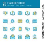 line icons set. flat thin...   Shutterstock .eps vector #606024626