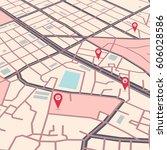 vector flat abstract city map... | Shutterstock .eps vector #606028586