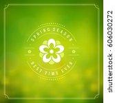 spring vector typographic... | Shutterstock .eps vector #606030272