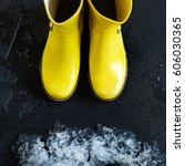 Yellow Rubber Boots In Front Of ...