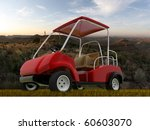 golf cart on dry grass - stock photo