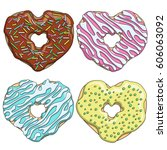 set of colorful tasty donuts in ...   Shutterstock .eps vector #606063092
