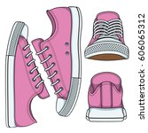 set of illustrations with pink... | Shutterstock .eps vector #606065312